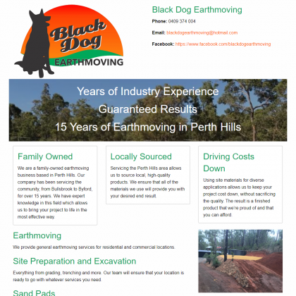 Black Dog Earthmoving website