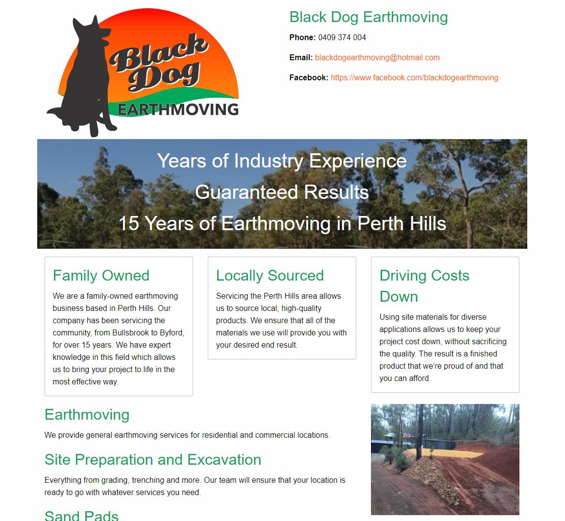 Black Dog Earthmoving website