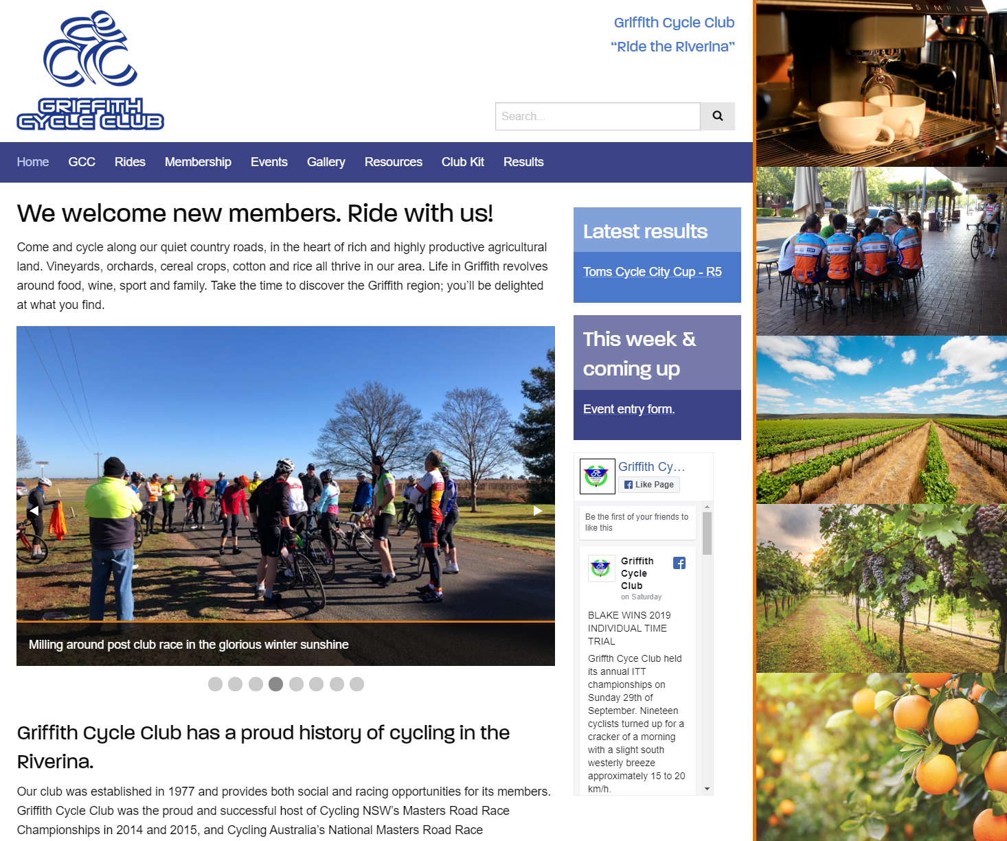 Griffith Cycle Club website