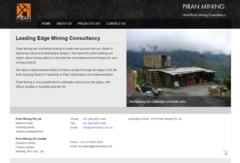 Piran Mining website